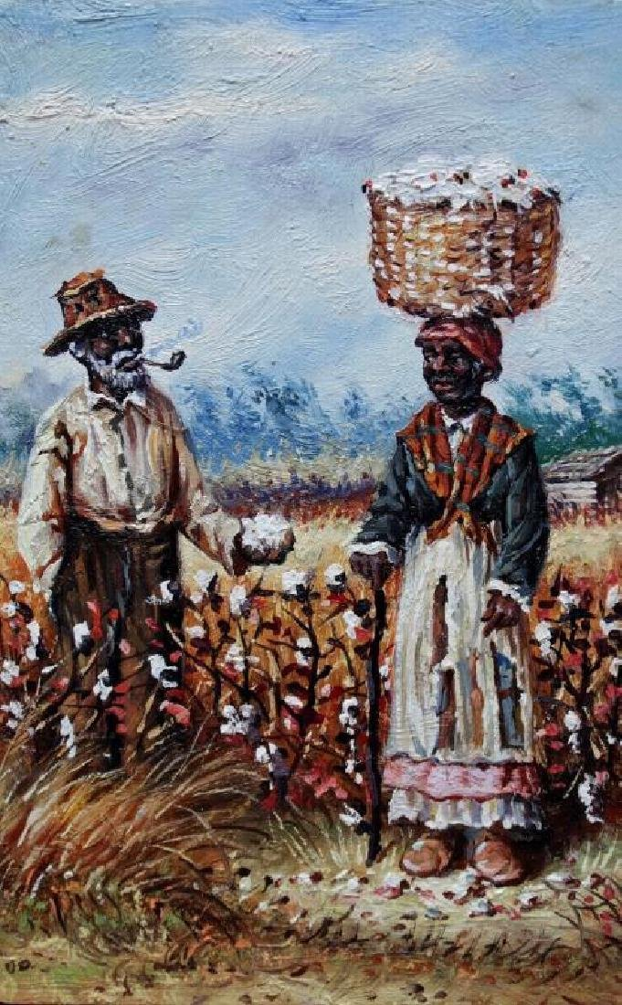 Student of W.A. Walker, Sharecroppers Oil Painting