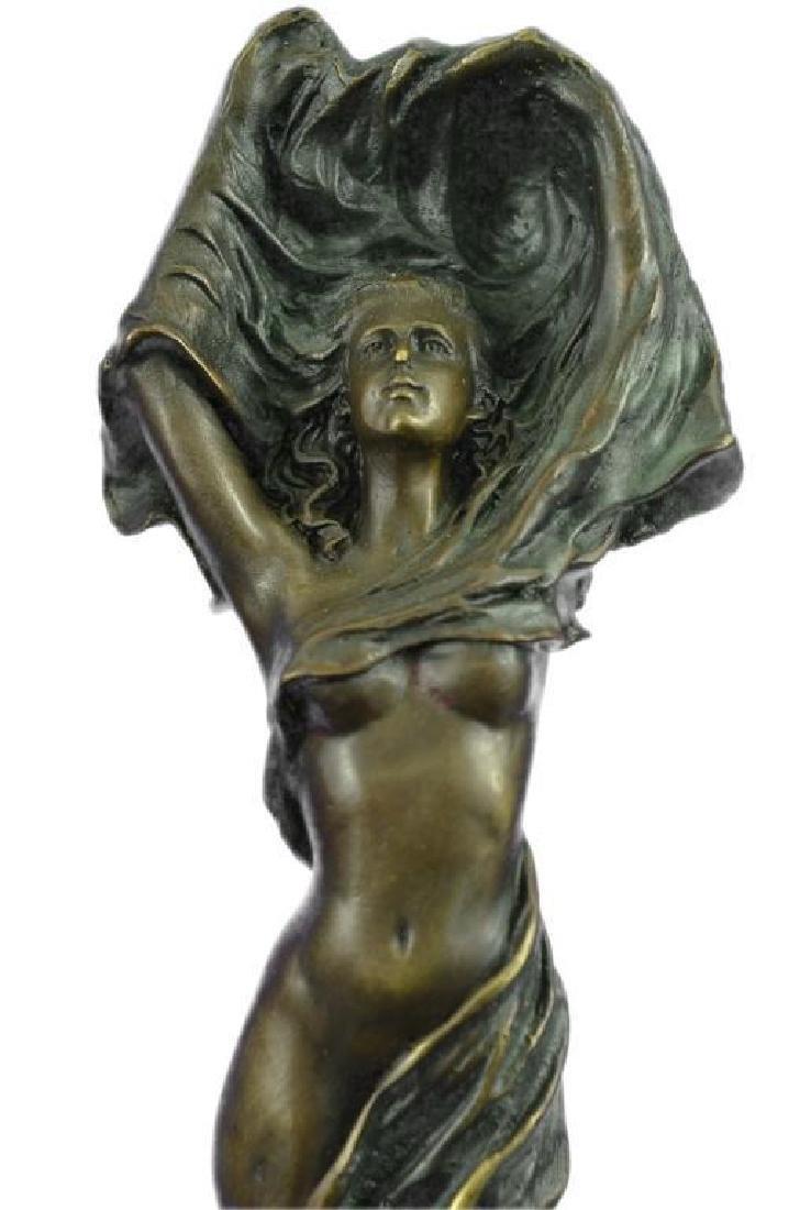Art Nouveau Nude Girl Bronze Statue