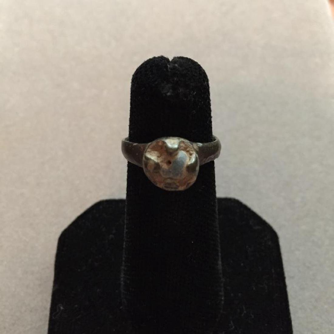 13th - 15thc Medieval Bronze Blue Stone Ring