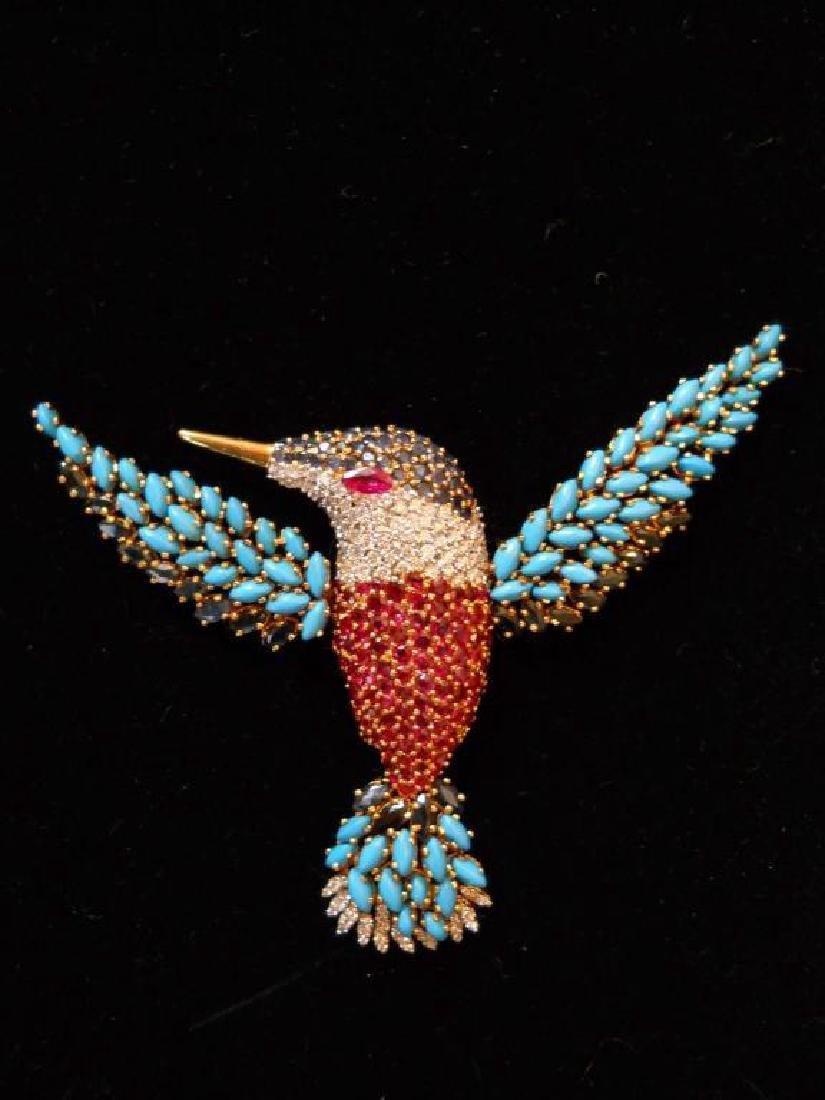 18kt Gold & Diamond Multi Stone Hummingbird Brooch