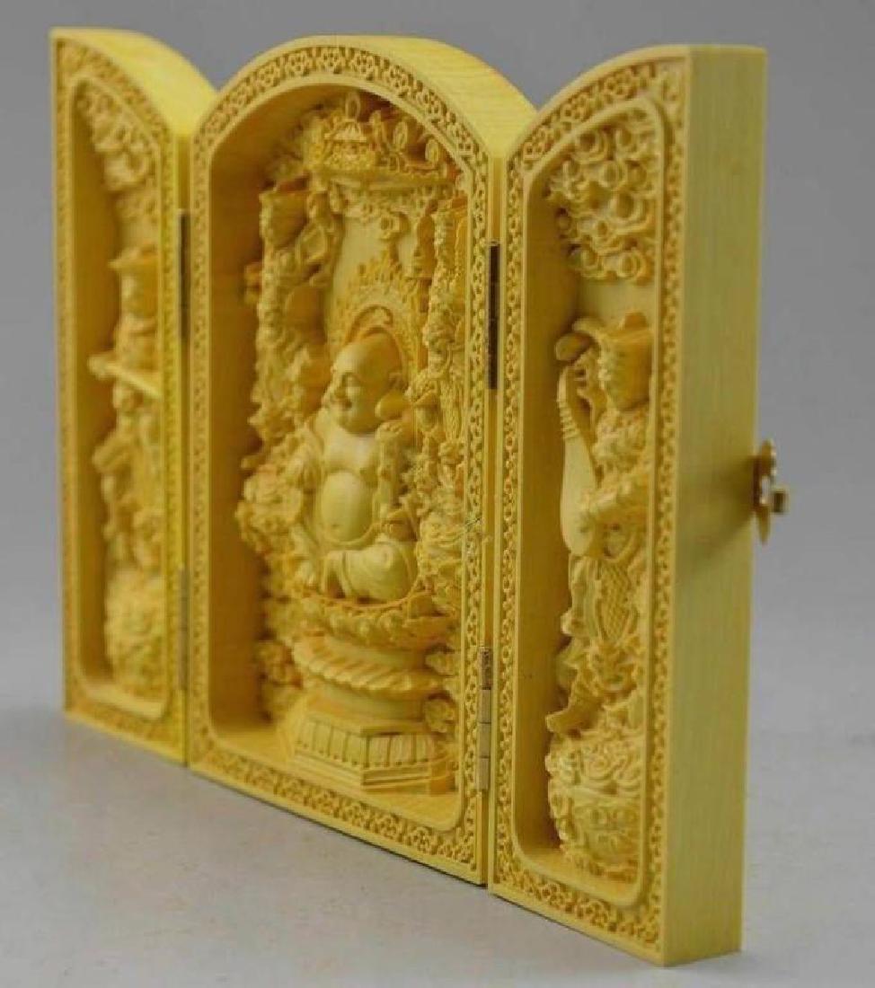 Carved Boxwood Triptych Temple of Maitreya Buddha