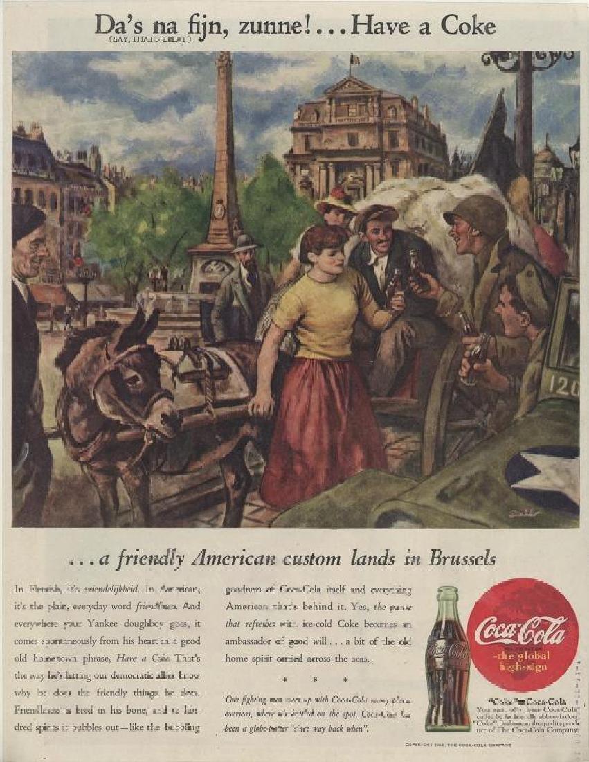Original 1945 WWII Coca Cola Brussels Magazine Ad