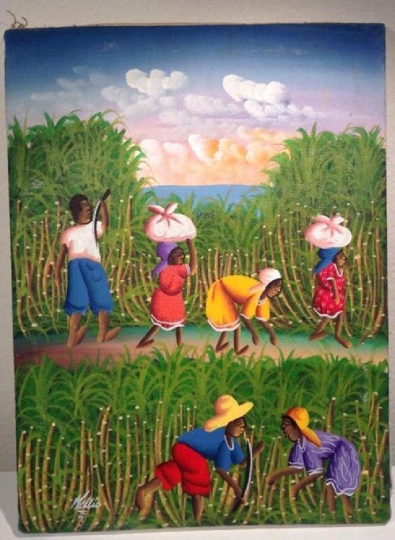 Signed Painting, Haitian Sugar Cane Harvest