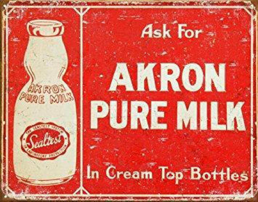Akron Pure Milk Metal Advertising Sign
