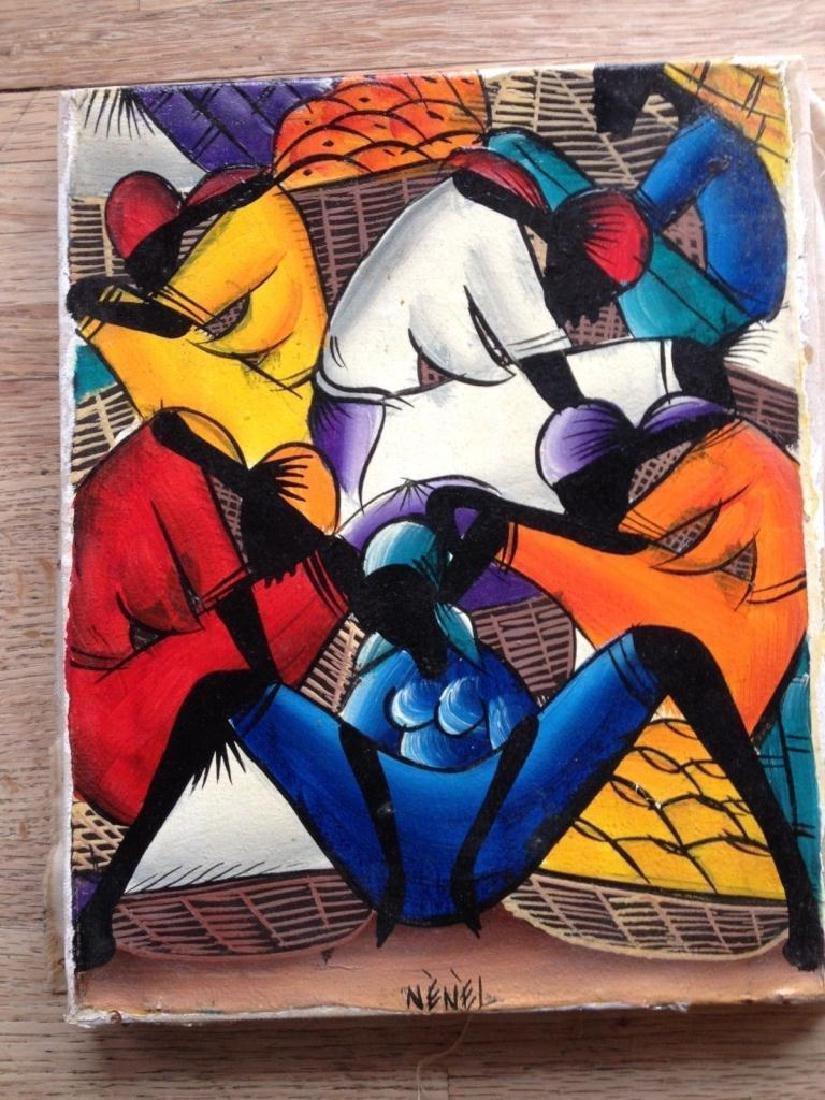 Signed Acrylic Painting, Haitian Farmers Market