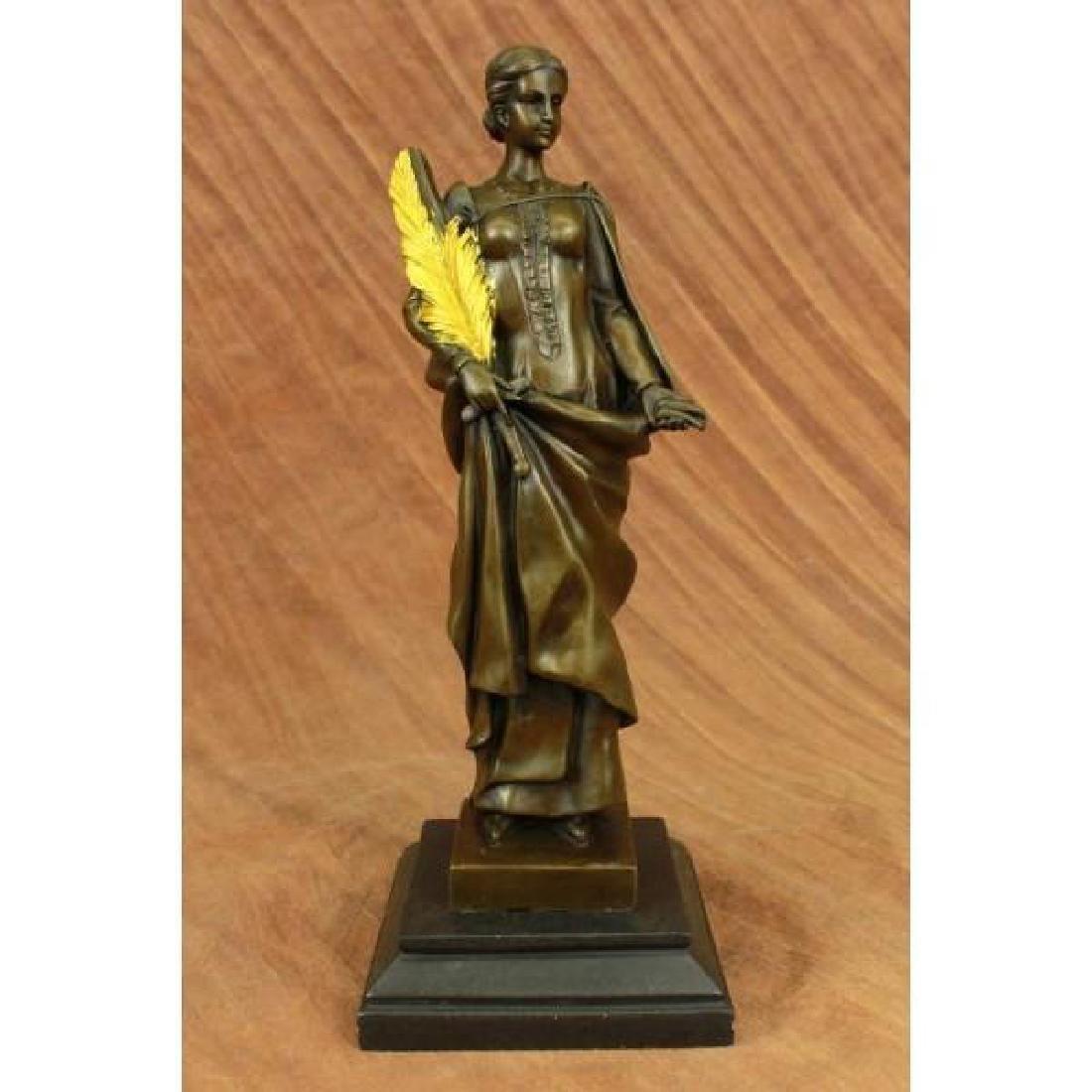 Art Deco Lady Wisdom Greek Goddess Bronze Sculpture