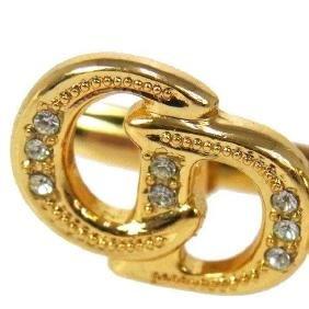 Vintage Christian Dior Gold & Crystal Cuff Links