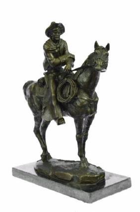 Tribute to Remington, Cowboy Bronze Sculpture