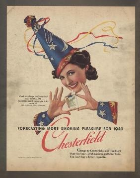 1940 Chesterfield January Girl, Donna Dae Ad