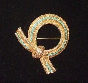 Vintage Sphinx Gold & Turquoise Round Brooch