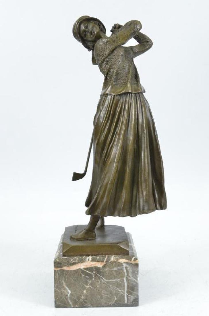 After Chiparus, Lady Golfer Bronze Statue Trophy