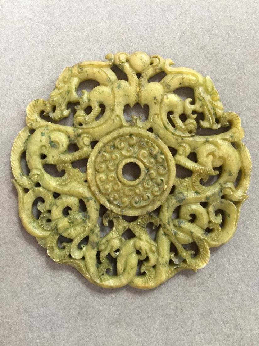 Carved Stone Dragon & Phoenix Pendant bi