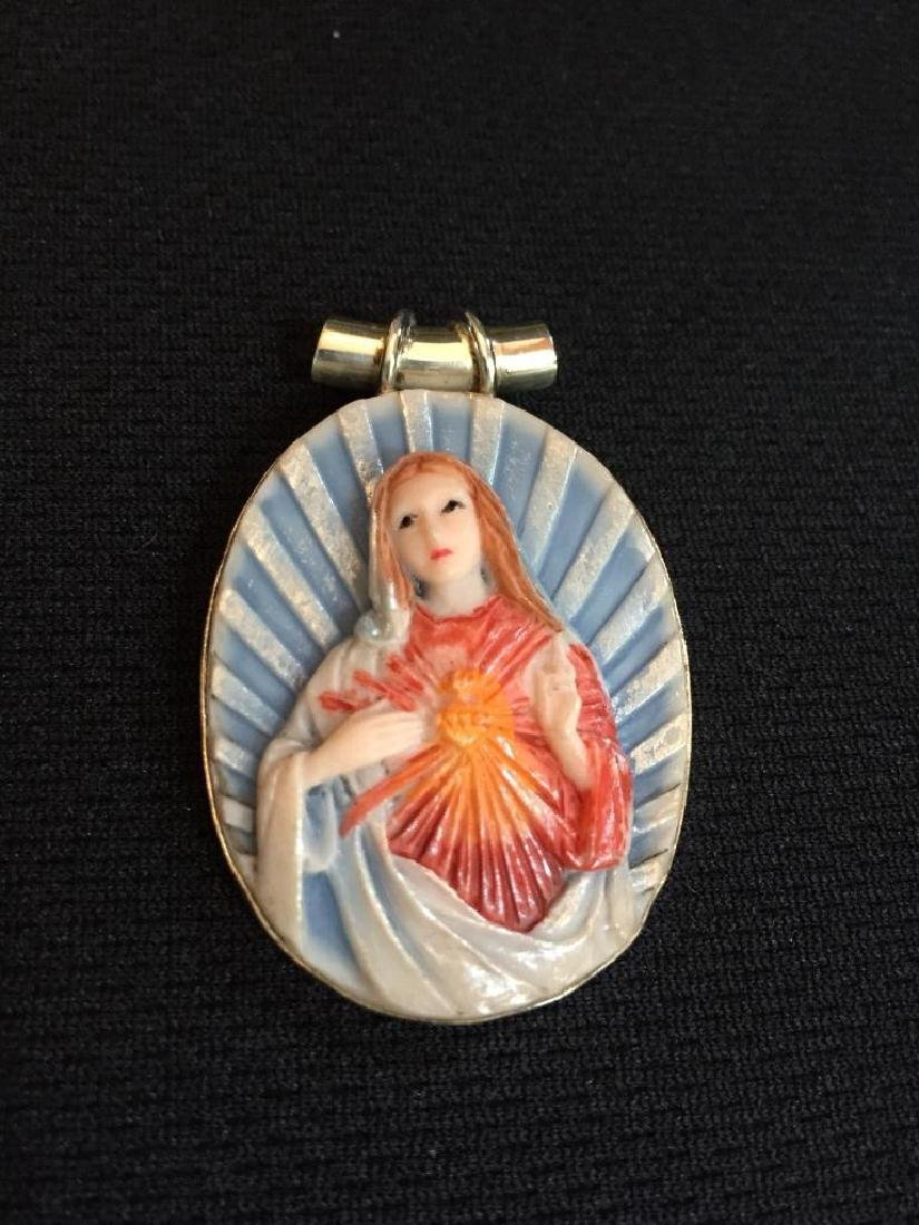 Sterling & Composition Virgin Mary Pendant