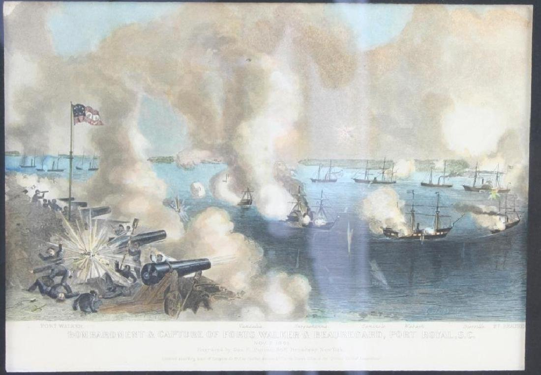 Hand-colored Steel Engraving, Port Royal SC Battle
