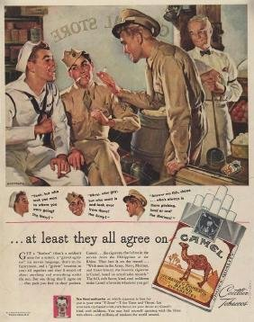 WWII Camel Cigarettes Army Navy Marines Ad