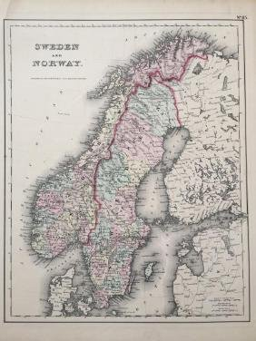 19thc J. H. Colton Map of Sweden & Norway