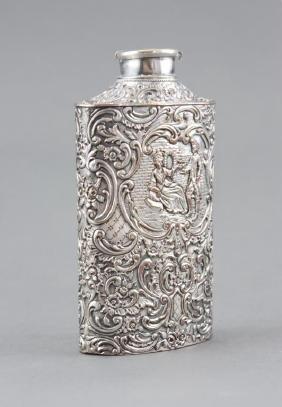 Antique Danish Repousse Silverplate Powder Flask