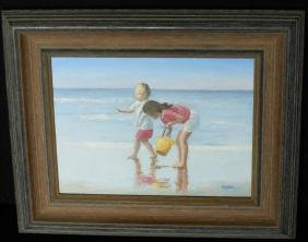 20thc Signed Oil on Board Painting, Beach Scene