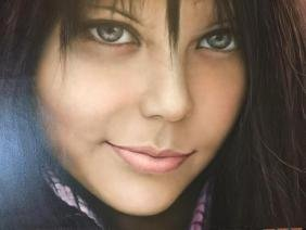 Oil on Canvas Painting, Brunette Girl