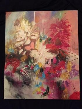 Studio Wrap Oil on Canvas Abstract Floral Painting