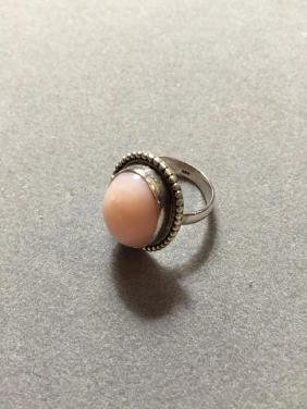18ct Peruvian Pink Opal & Sterling Silver Ring