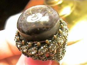 Bold Black Star Sapphire Cabochon Ring
