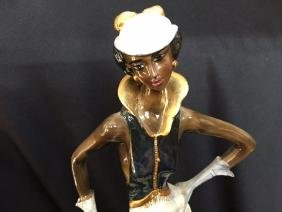 Signed A.Santini, Jazz Age Lady Sculpture