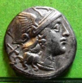 200 BC Roman Anonymous Silver Denarius Coin