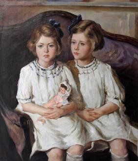 Edwardian Style Portrait, Two Girls With Doll