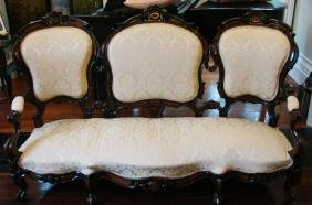 Mid 19thc American Walnut, Rosewood Settee
