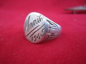 1945 WWII Manila Philippines Trench Art Ring