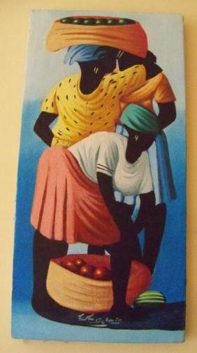 Signed Acrylic Painting, Haitian Fruit Sellers