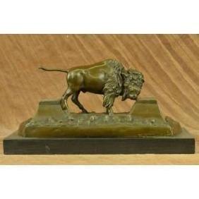 Large American Buffalo Bison Bronze Sculpture by