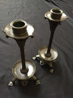 19thc Pair of Aesthetic-Style Bronze Candlesticks