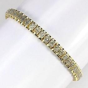 White Peach Diamond Gold Tennis Bracelet