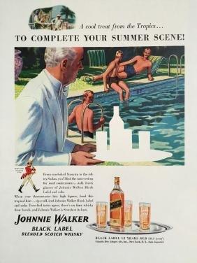 1940 Johnnie Walker Scotch Whiskey Bathing Men Ad