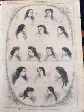 Original 1866 Harper's Weekly Page, Hairstyles