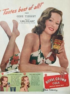 1945 Royal Crown RC Cola Gene Tierney Ad