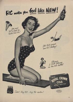 Original 1953 RC Cola Swimsuit Pin Up Ad