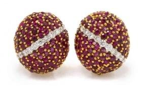 Spectacular Cartier Style Ruby & Diamond Earrings