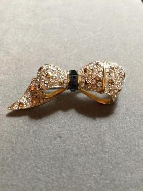 Vintage Austrian Crystal Bow Ribbon Brooch
