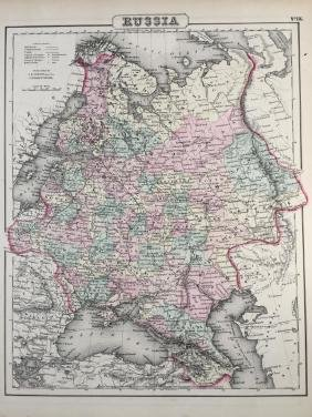19thc J. H. Colton Map of Russia