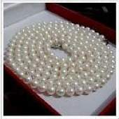 36 89mm Akoya white cream pearl necklace 14k Gold