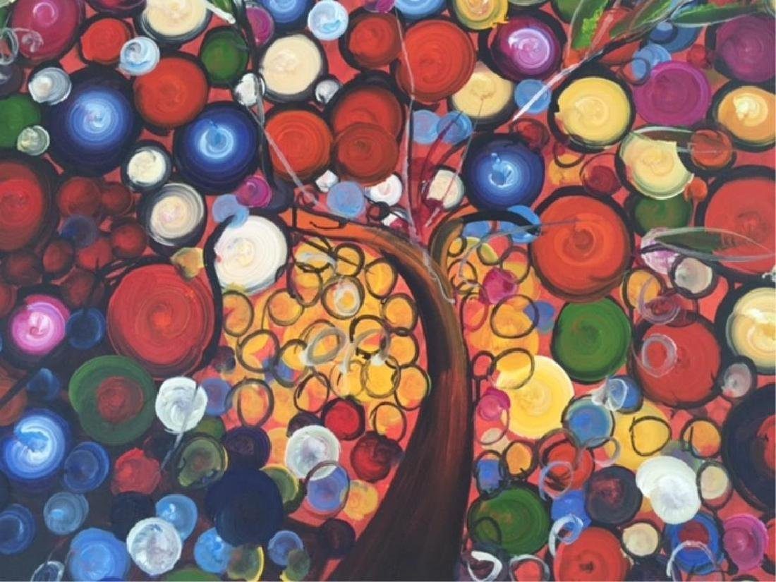 Abstract Colorful Tree Of Life Oil Painting