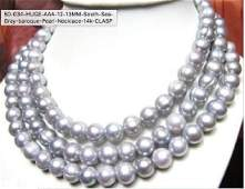 """50"""" string of fine AAA South Sea Baroque Gray Pearl"""