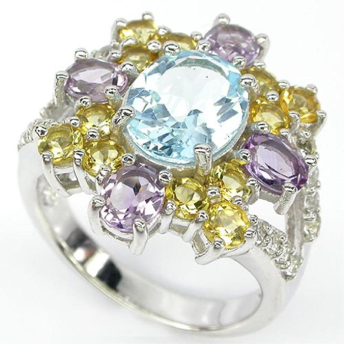 Topaz, Amethyst & Citrine Sterling Cocktail Ring
