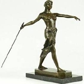 Art Deco Nude Female Gilt Diana Hunter Huntress Bronze