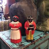 Vintage Aunt Jemima & Uncle Moses Figural Salt &