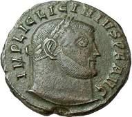 Ancient Roman Bronze Coin  Licinius I AE Follis Jupiter
