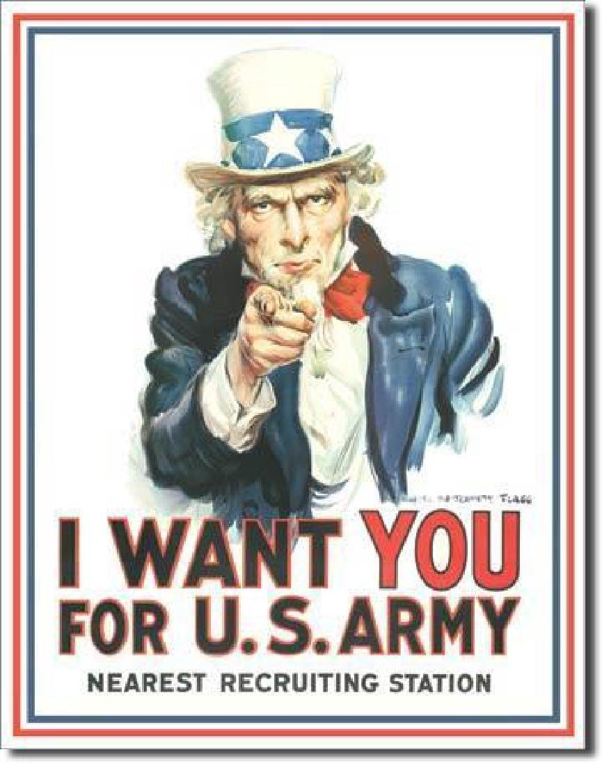 """Uncle Sam, """"I Want You"""" U.S. Army Recruiting Sign"""